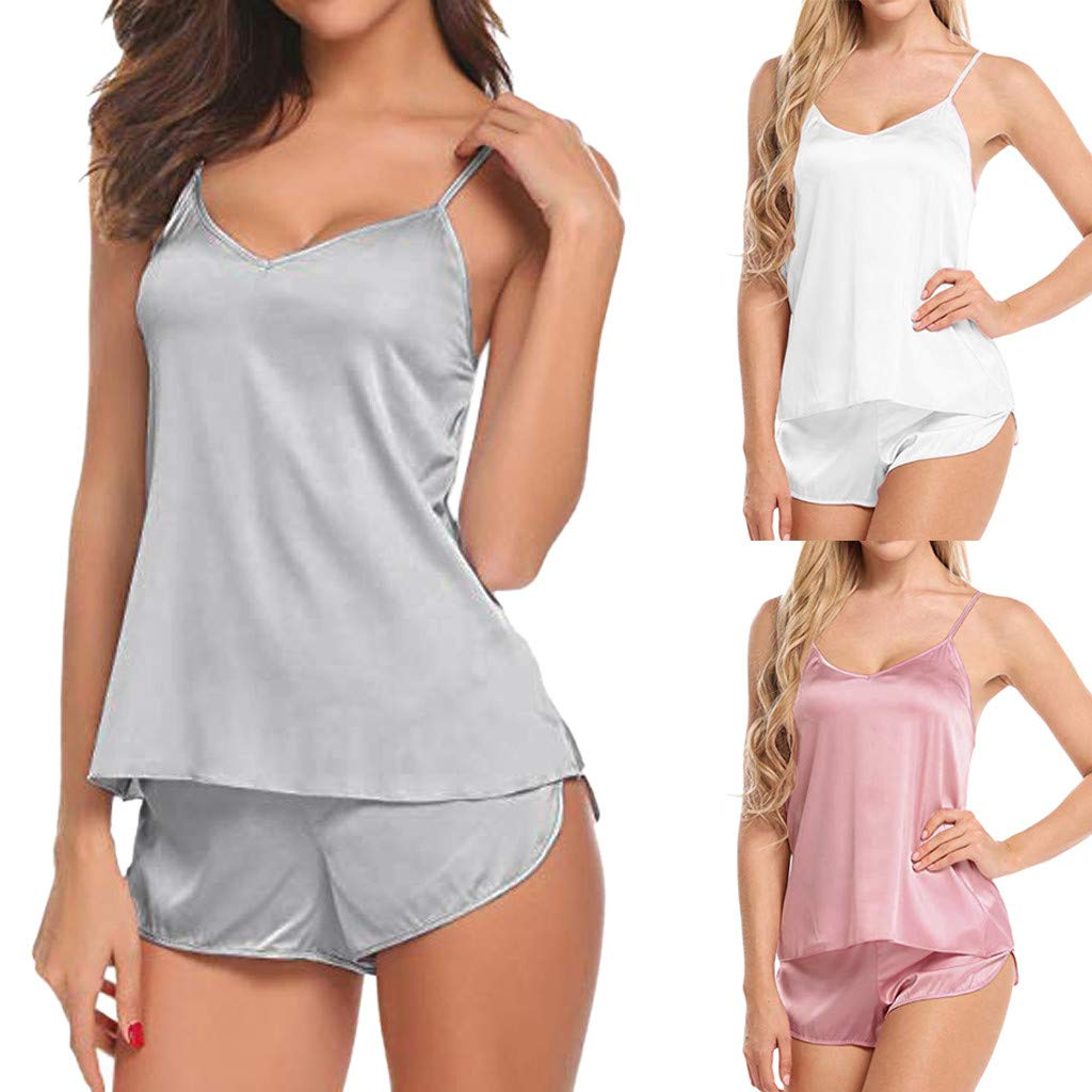 Corriee Ladies Sexy Camisole Sleepwear Solid Color Pajamas Set V Neck Satin Silk Babydoll Nightwear Nightgowns Gray by Corriee (Image #6)