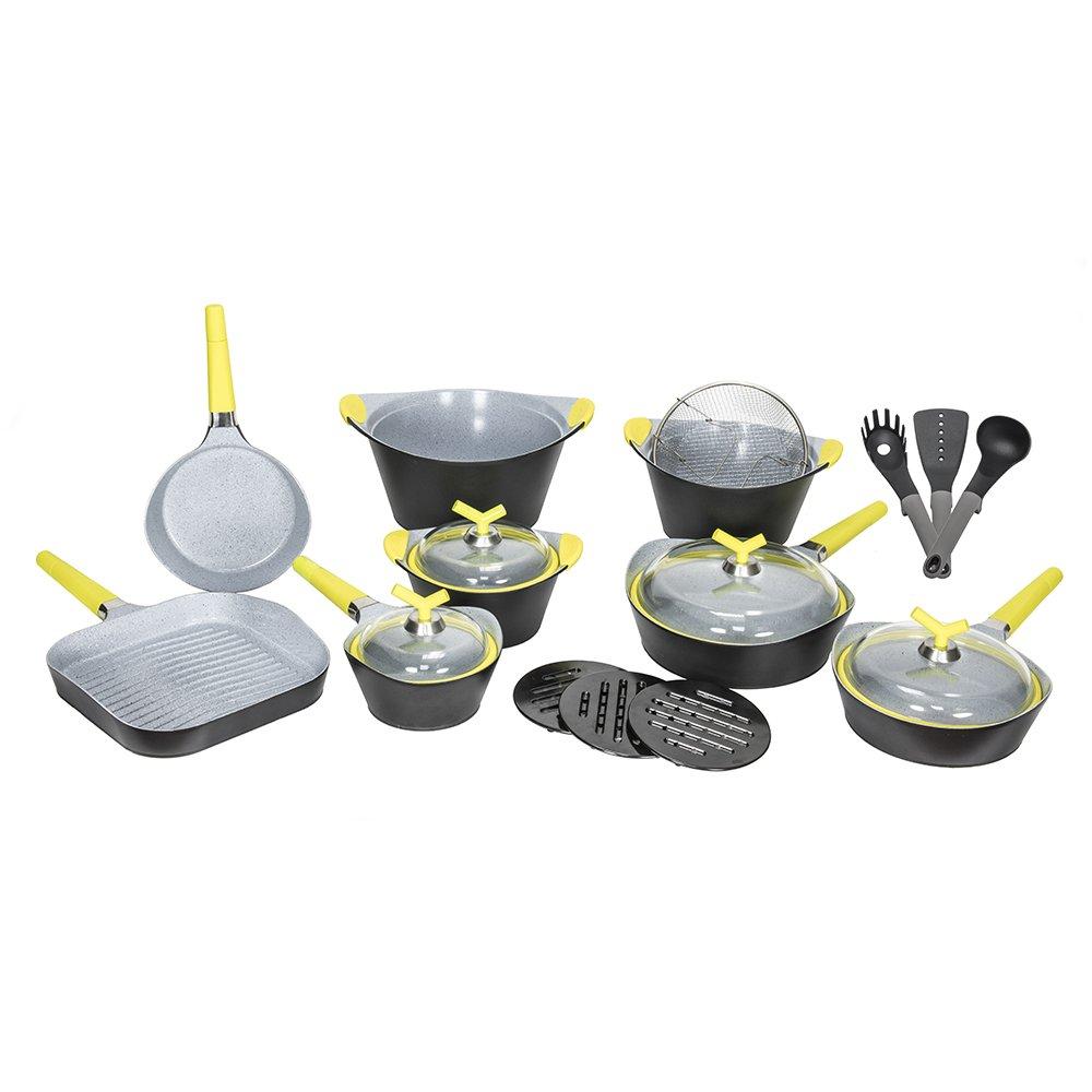 Batería de cocina de 19 piezas Premium Black Stone de Cecotec. Sartenes y ollas de alta gama. Revestimiento Ceramium. Aptas para todas las cocinas. ...