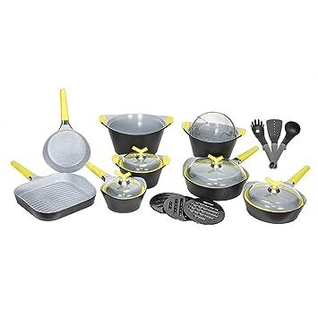 Batería de cocina de 19 piezas Premium Black Stone de Cecotec. Sartenes y ollas de