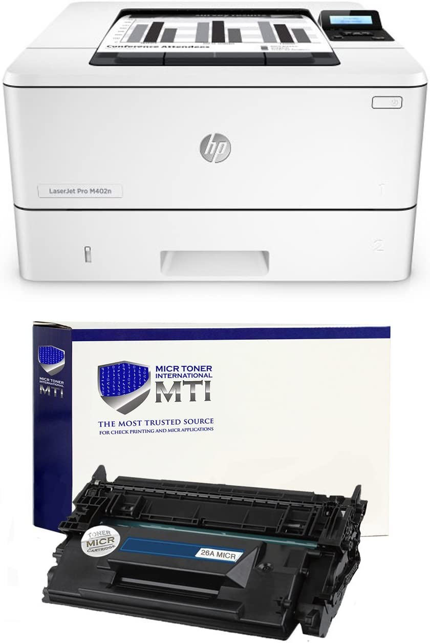 MTI LaserJet Pro M402n MICR Check Printer Bundle with 1 Compatible 26A CF226A MICR Toner Cartridge