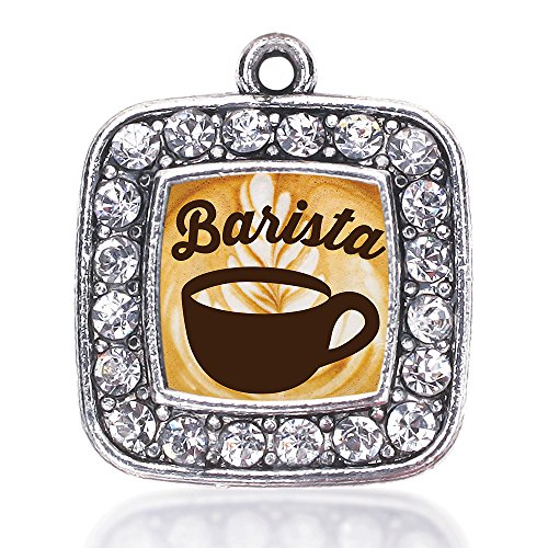 Inspired Silver Barista Loose Square Charm with Crystal Rhinestones