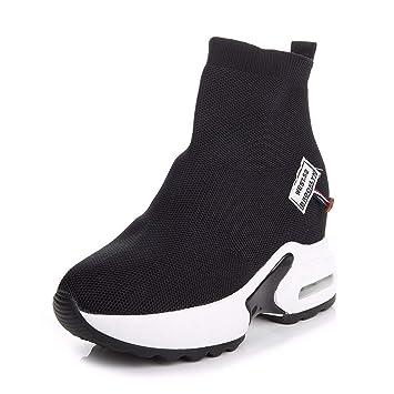 HBDLH Zapatos de Mujer/Calcetines Zapatos con Alto 9 Cm Fondo Grueso Más Adentro Transpirable
