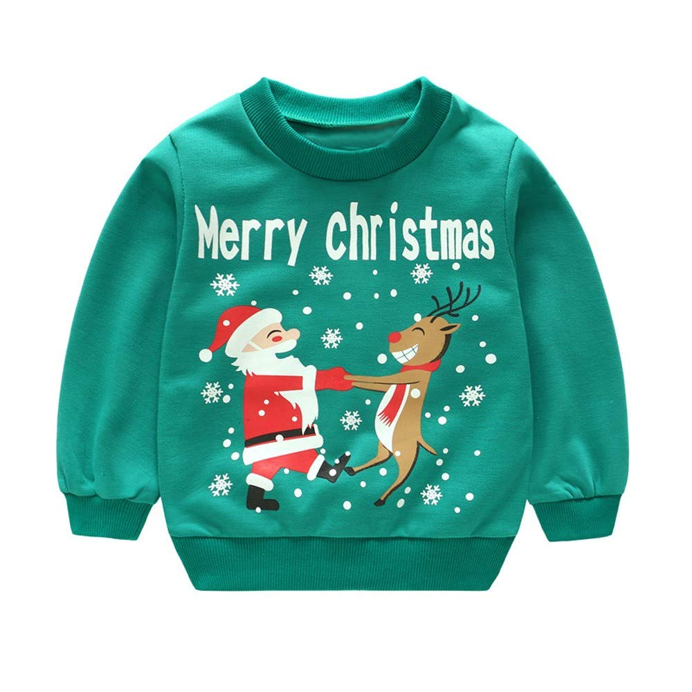 Lucoo Winter Outfits Set,Toddler Baby Girl Boy Santa Claus Christmas Snowman Deer Tops+Pants Outfits Set