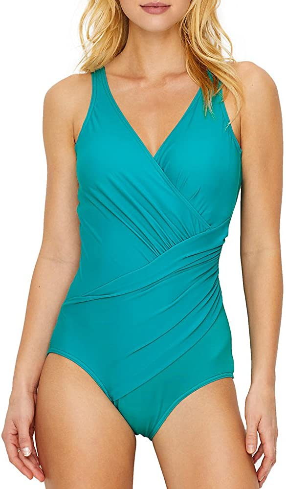 Miraclesuit Women's Swimwear Must Have Oceanus Tummy Control V-Neckline Soft Cup One Piece Swimsuit