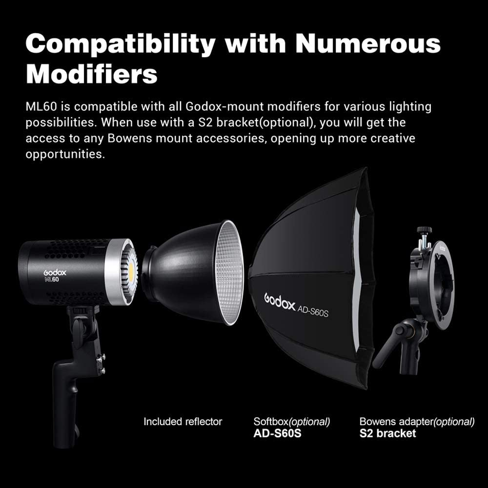 69000LUX@0.5m Godox ML60 60W Handheld LED Video Light CRI96+ TLCI 97+ 8 Preset Lighting FX Effects W//LAOFAS Color Filters Ultra Quiet Fan Support NP-F970 Battery 16 Groups 32 Channels 99IDs