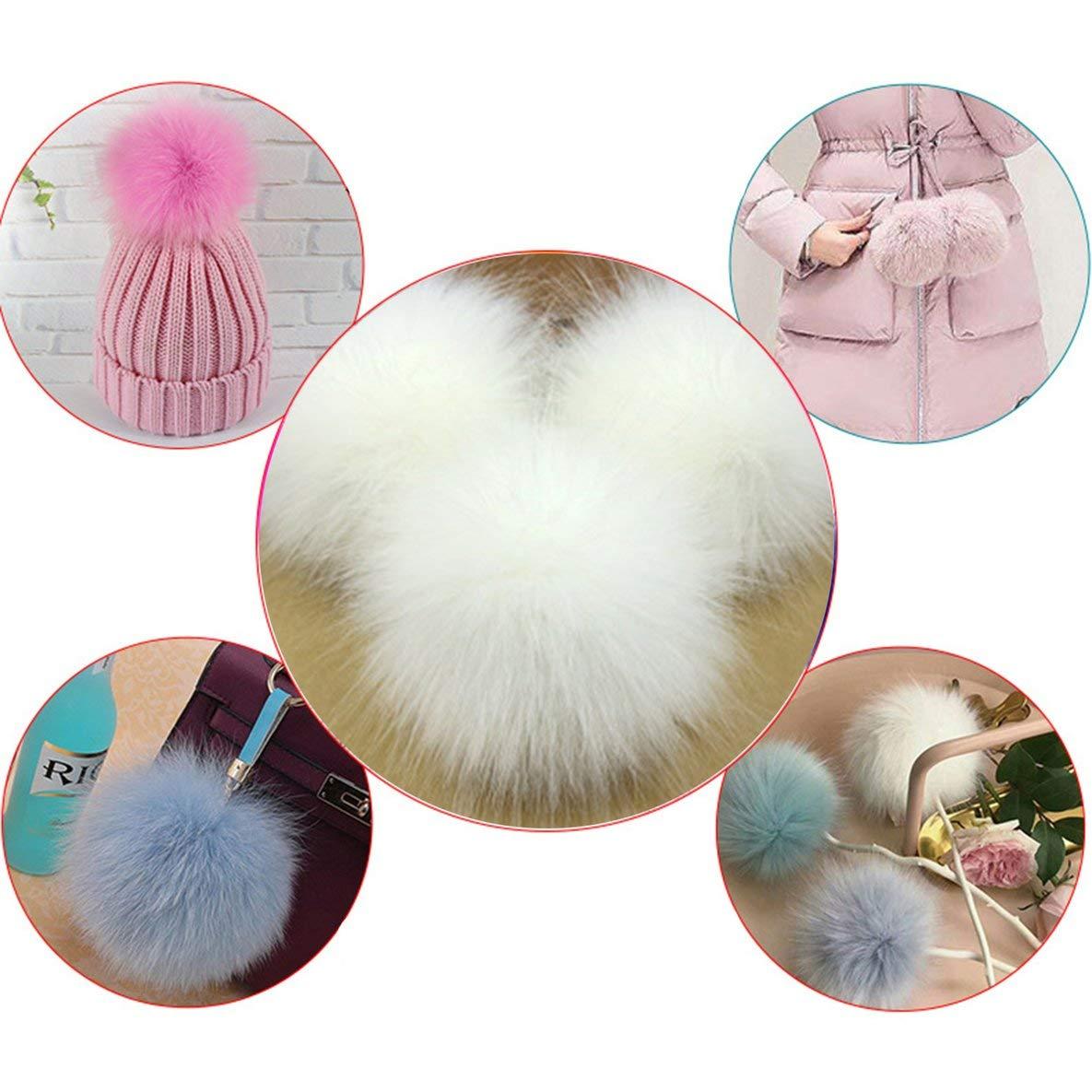 Noradtjcca Niedlichen fuchspelz Pompon abnehmbare Fell Flauschigen bommel Ball mit Druckknopf f/ür DIY h/üte caps Taschen Kleidung Schuhe dekor