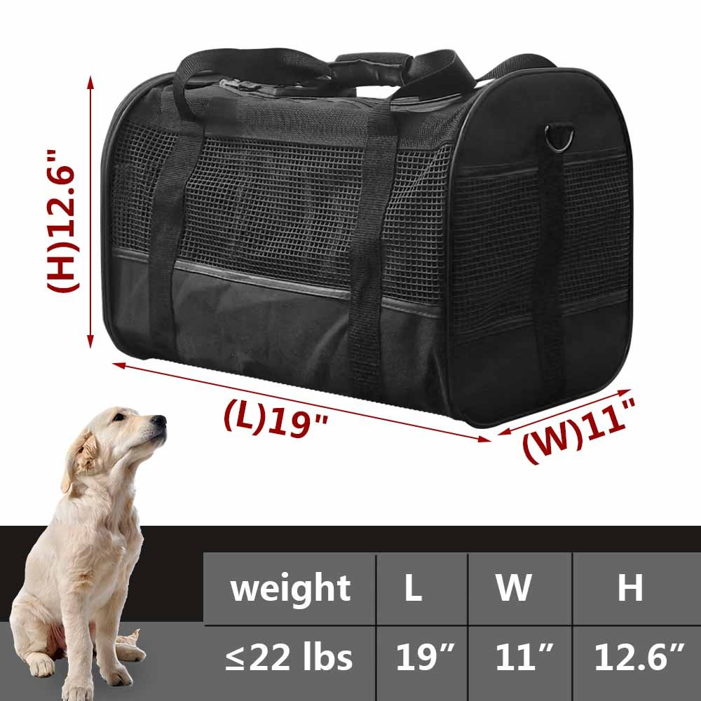 AGOOL Pet Carrier Luxury Large Soft Sided Foldable Pet Travel Tote with Removable Airline Approved Fleece Bedding for for Puppies, Cats and Pets - 19x11x12 inch by AGOOL (Image #6)