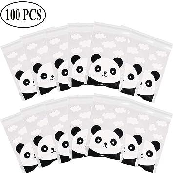 Ouinne 100 Piezas Bolsas de Celofán, Patrón de Panda Bolsas Regalo Cumpleaños para Frutos Secos, Caramelos, Chocolate