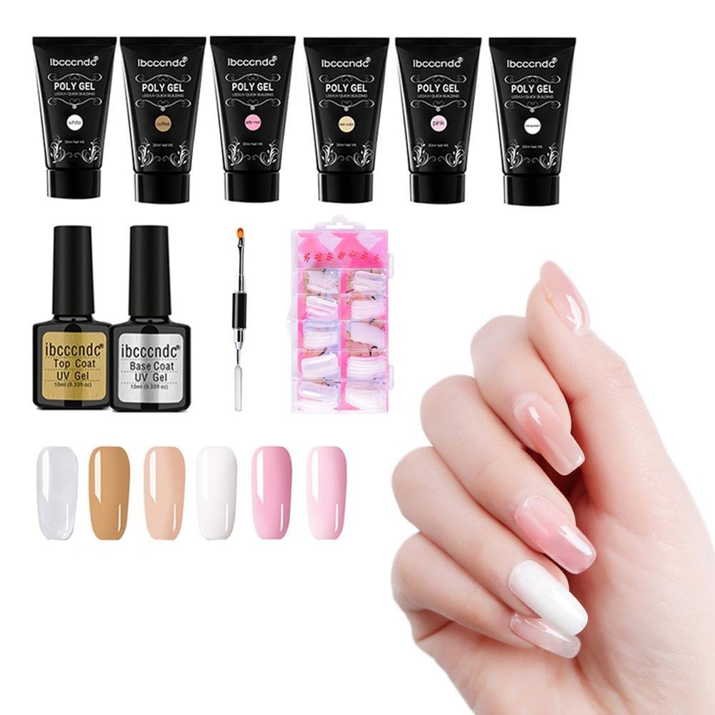 Juego de esmaltes de uñas Molie Polygel 10 piezas Juego de esparcidor de uñas Juego de adhesivos de extensión Juego de adhesivo de extensión de 6 colores ...