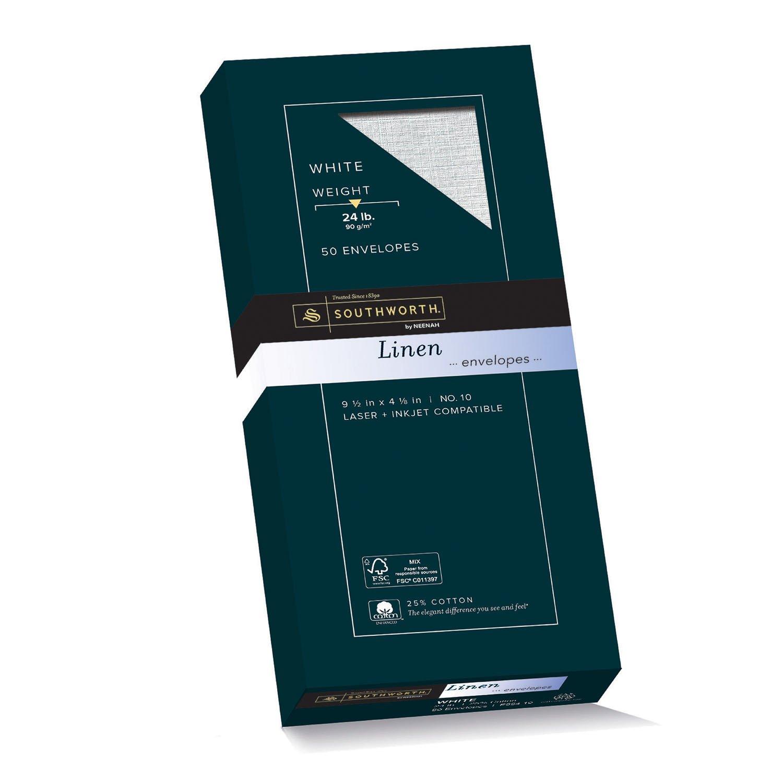 """Southworth 25% Cotton #10 Envelopes, 4.125"""" x 9.5"""", 24 lb., Wove Finish, White, 50 Envelopes (P554-10)"""
