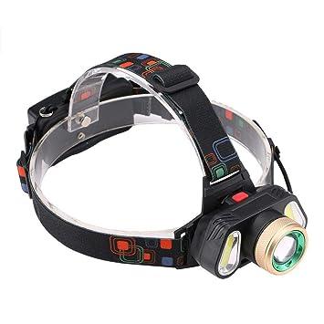 Linterna Frontal LED T6 3 LED COB 4 modos impermeable recargable al aire libre acampar luz