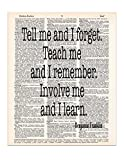 Benjamin Franklin Quote – Upcycled Dictionary Art – Wall Print – Poster – UNFRAMED