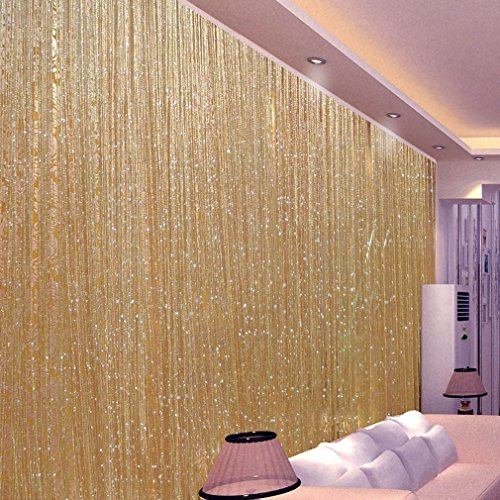 (Baynne Liobaba Door String Curtain Wall Panel,Fringe Window Panel Room Divider Cute Strip Tassel for Wedding Coffee House Restaurant Parts 100X200cm (Champagne))