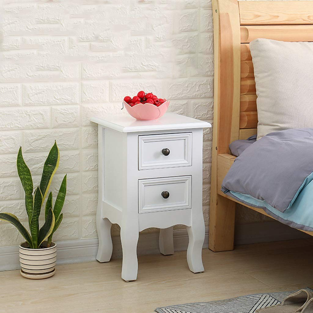 ZDNALS Bedroom Bedside Table Unit Cabinet Nightstand Furniture Wood White Bedside Table 2-Drawers Cabinet (White) Home, Living Room