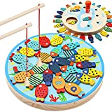 30 PCS Magnetic Wooden Fishing Game Toy for Toddlers-Preschool Alphabet Fish Board Games Counting Board Games Toys for 2 3 4 Year Old Birthday Learning Education Math Toys with Magnet
