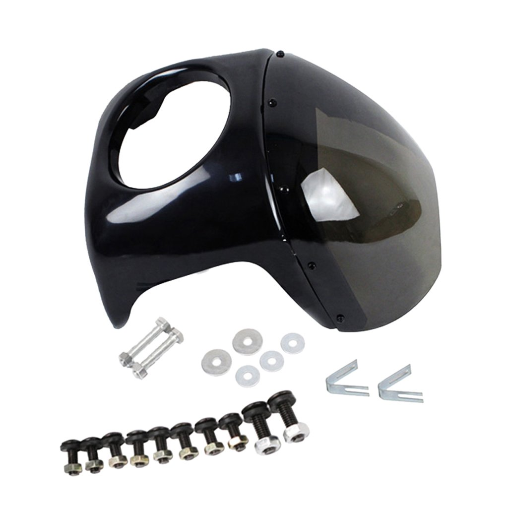 Fenteer 全2色 ハーレーヤマハホンダに対応 ヘッドライトサイズ7インにフィット チフェアリング+フロントガラス - 黒灰色  黒灰色 B07DW83H7B