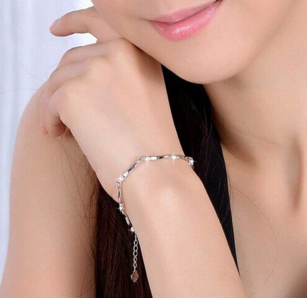 GTHYUUI 1X Charm Fashion Checkered Colorful Diamond Bracelet Chain Silver For Women Girls