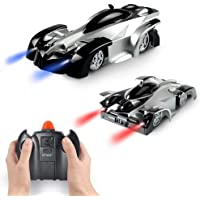 Wall Climbing Car Toys for Boy - Remote Control Car Climber with Battery Rechargeable   Dual Mode 360°Rotating Stunt,LED Head Gravity-Defying, Gift for Boys Kids Birthday Christmas
