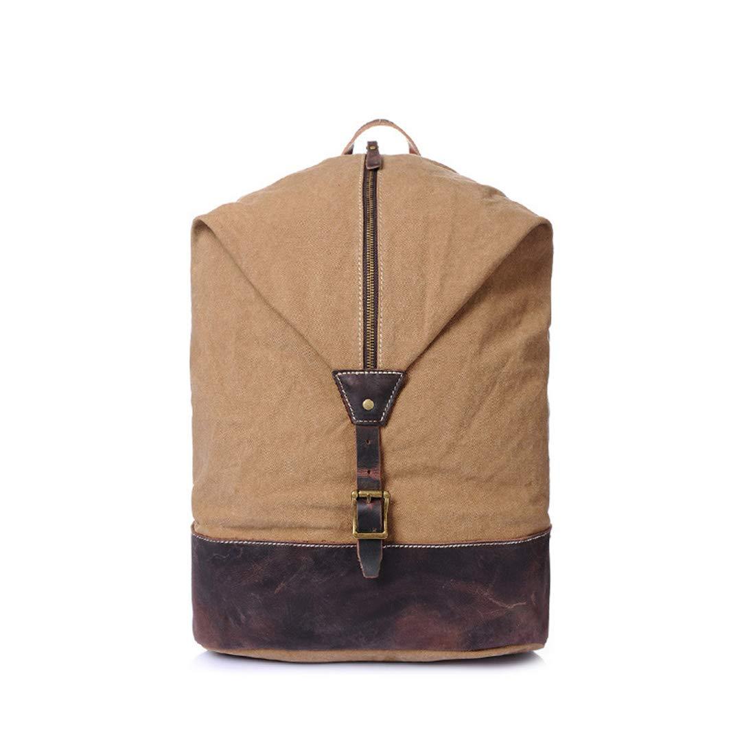 Vergeania 男性/女性バックパックデイパック防水ヴィンテージジッパーキャンバスバケットバッグ学生アウトドアショッピングバックパック (色 : Camel color) B07RSBLM61 Camel color