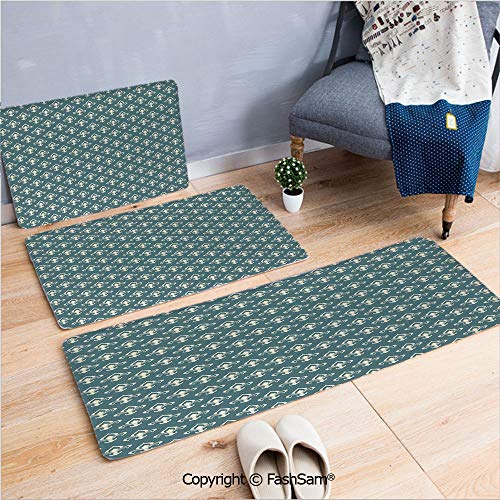 (FashSam 3 Piece Flannel Bath Carpet Non Slip Ancestral Vintage Motif Pattern Classical Ornaments Victorian Inspired Front Door Mats Rugs for Home(W15.7xL23.6 by W19.6xL31.5 by W17.7xL53))