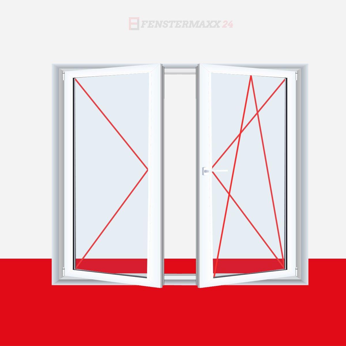 Anschlag:DKL//DR Glas:2-Fach 2-fl/ügliges Kunststofffenster Stulpfenster Wei/ß DKL//DR mit Stulp BxH:1400x900