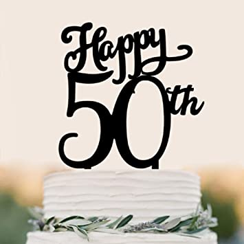 Happy 50th Birthday Cake Topper Decor Adult Party Decoration Supply Black