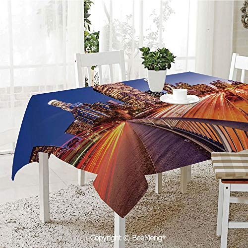 BeeMeng Large dustproof Waterproof Tablecloth,Family Table Decoration,Night,USA Downtown City Skyline Over The Highway Los Angeles California Travel Destination,Multicolor,70 x 104 inches ()