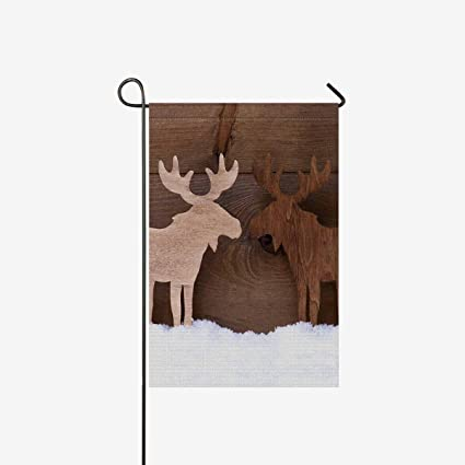 interestprint christmas decoration timber elk moose couple on white snow garden flag home house banner decorative - Outdoor Moose Christmas Decorations