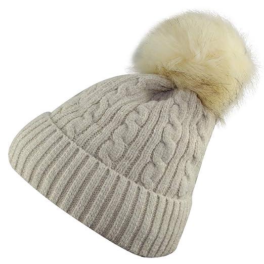 6adc3ecea31 MINAKOLIFE Women s Winter Soft Knitted Beanie Hat with Faux Fur Pom Pom  (Beige)