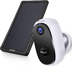 Wireless Security Camera Outdoor Rechargeable Battery Powered 10000mAh with Solar Panel, Ctronics Home WiFi Camera 1080P Surveillance Cam with Two Way Audio PIR Motion Detection IP66 Waterproof