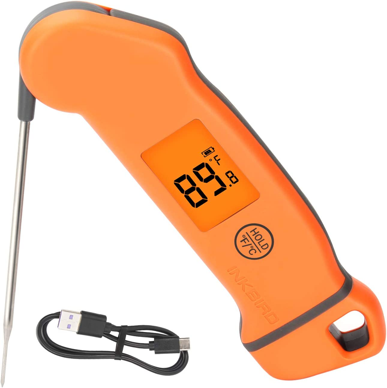 Inkbird Digital Instant Read Meat Thermometer, Candy Thermometer with Rotatable Screen Auto Backlight, Waterproof Kitchen Food Thermometer for Grill, Smoker, Kitchen, BBQ, Oven, Candy, Baking