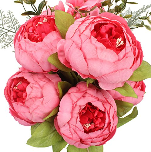 Duovlo Springs Flowers Artificial Silk Peony Bouquets Wedding Home Decoration,Pack of 1 (Spring Pink)
