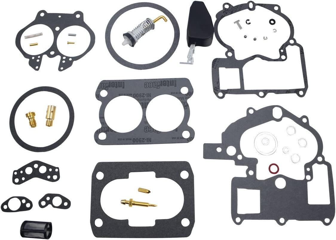 Unepart Carburetor Rebuild Kit for Mercury Marine 3.0L 4.3L 5.0L 5.7L Mercarb 2 BBL Carburetor 3302-804844002 1389-9562A1 1389-9563A1 1389-9564A1 1389-9670A2 1389-806077A2 (With float)