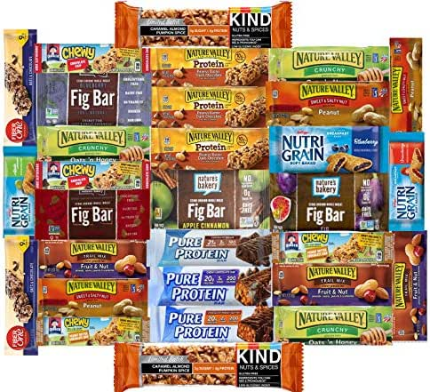 Fitness Box - Protein & Healthy Granola Bars Sampler Pack ( 30 Count) - Care Package - Limited Edition with KIND PUMPKIN SPICE Bars Gift Pack for Holidays, Students, Office Meetings, Military
