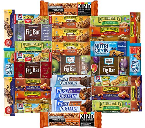 Fitness Box - Protein & Healthy Granola Bars Sampler Pack (30 Count) - Care Package - Limited Edition with KIND PUMPKIN SPICE Bars Gift Pack for Holidays, Students, Office Meetings, Military