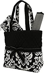 7bf0457e0c Belvah Quilted Damask 3pc Diaper Bag (Black)