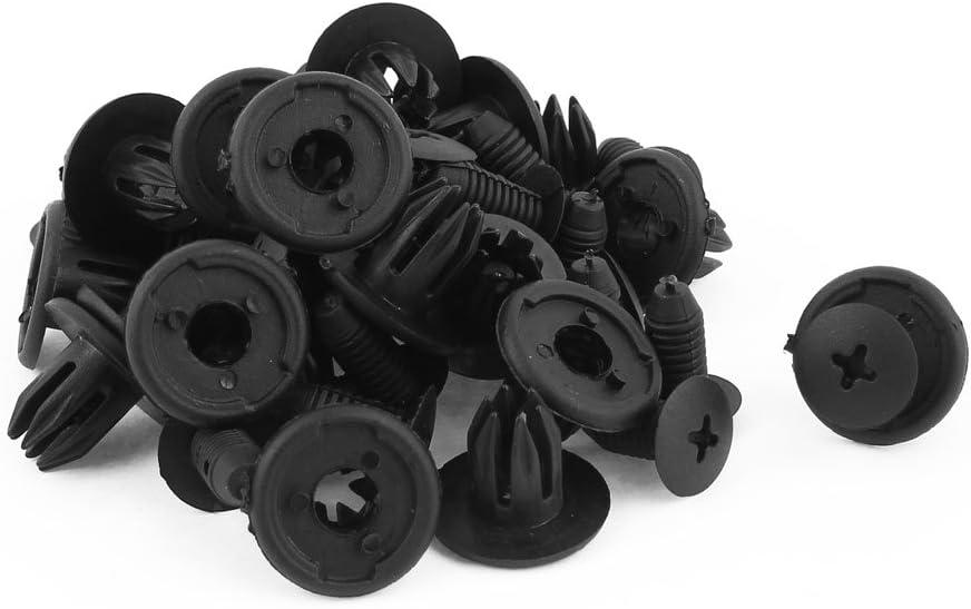 uxcell Black Plastic Rivets Fender Car Bumper Push Clips 23mm Length 24 Pcs