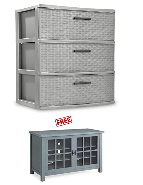 Amazon.com: BLOSSOMZ 3-Drawer Wide Weave Tower, Cement with ...