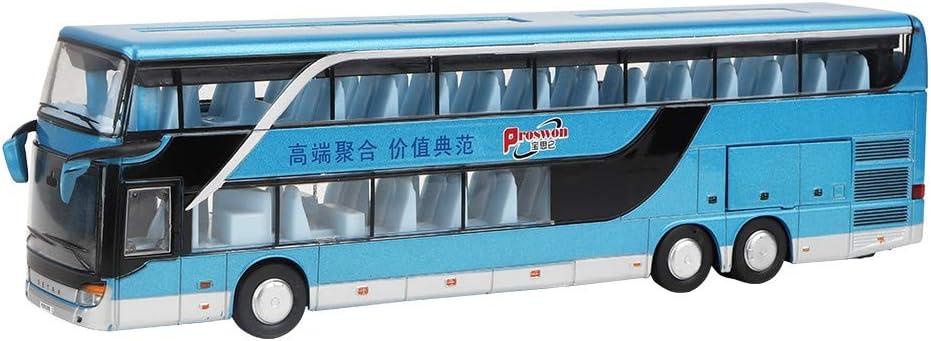 Juguete Modelo de autobús de Dos Pisos de aleación, eléctrico 1:50 Pull Back Cars Juguetes Vehículos de construcción Modelo de Coche con música Ligera para niños(Azul)