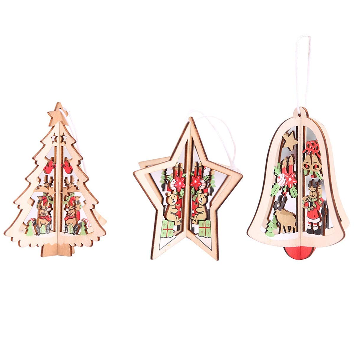 Yunhany Direct 1pc Christmas Tree Hanging Decorations Wooden Hollow Ornament Hanging Pendant Decoration (Color : Brown(Bell), Size : M)