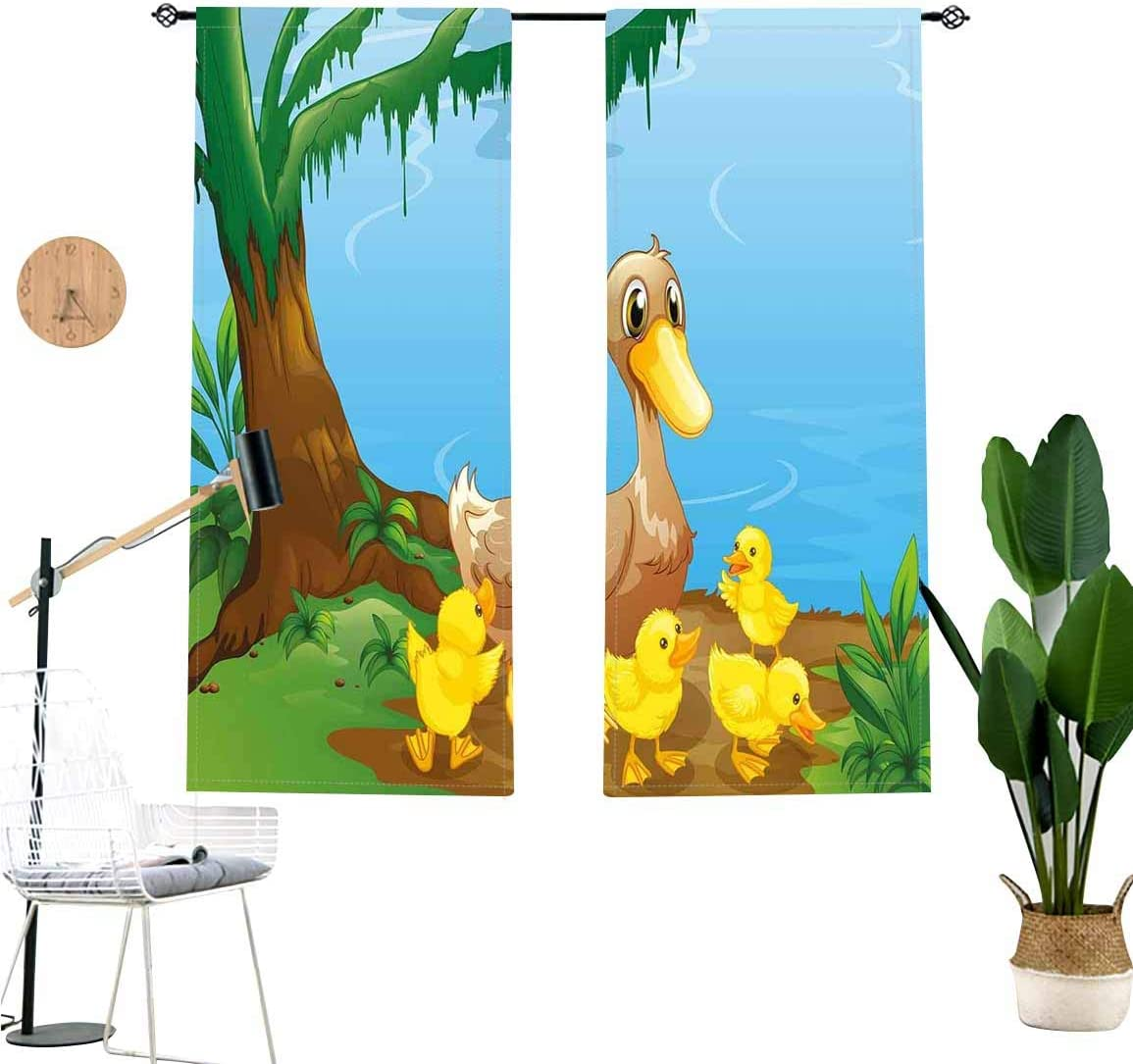 Kids Window Valance,Cute Duck and Her Ducklings at Riverbank Tree and Grass Cartoon Style Short Curtain for Kitchen Bedroom Decor with Rod Pocket,2 Panel Set,W29 x L24 Each Panel