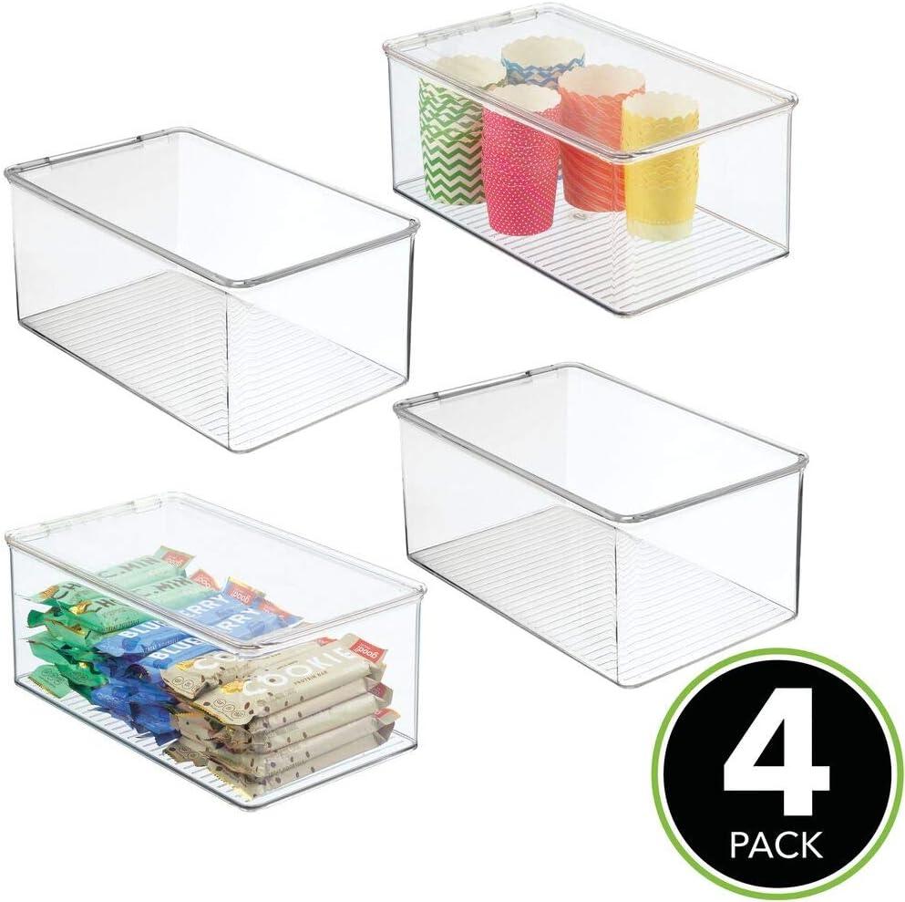 Contenedores de pl/ástico con capacidad para 9 latas Pr/áctico organizador de nevera mDesign Juego de 4 cajas de almacenaje para frigor/ífico y armarios de cocina gris humo