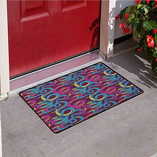 - GloriaJohnson Animal Inlet Outdoor Door mat Hand Drawn Style Pattern with Snakes Swirled Tangled Bodies Exotic Reptiles Catch dust Snow and mud W31.5 x L47.2 Inch Plum Blue Yellow