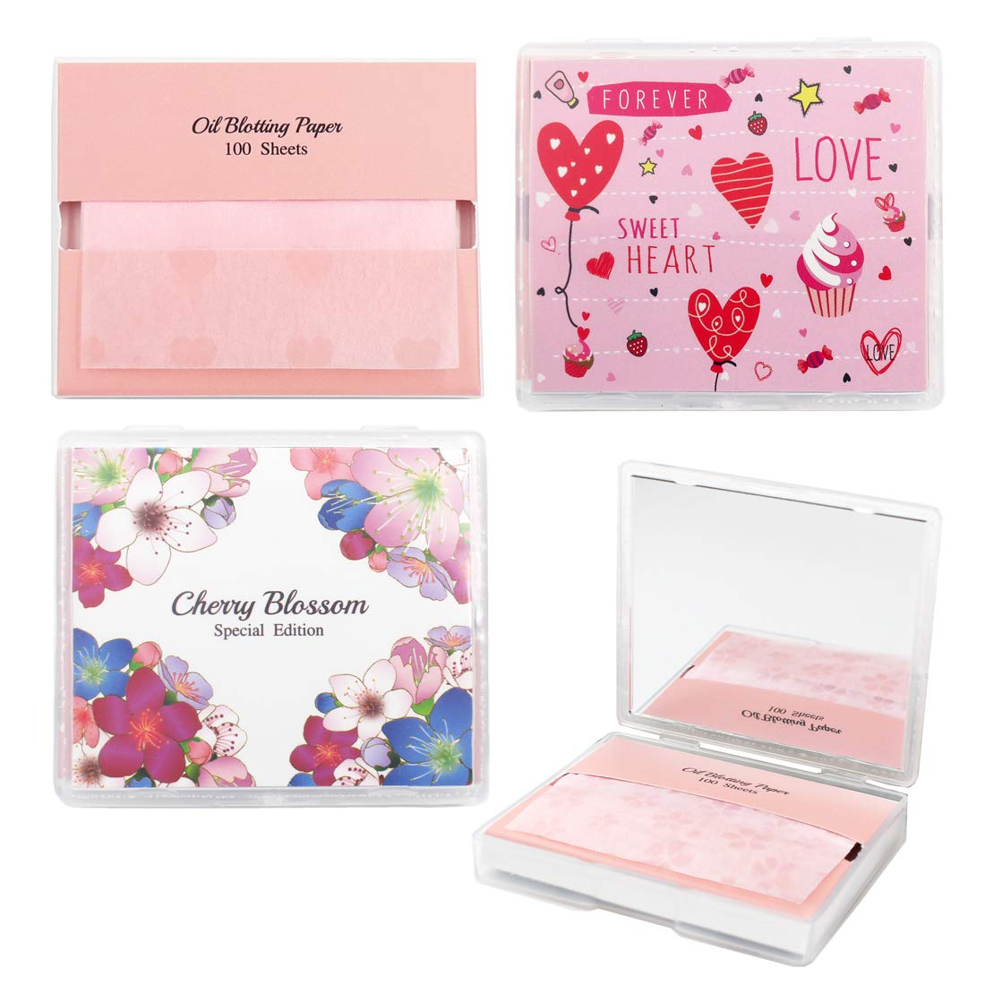Cherry Blossom Face Oil Blotting Paper Sheets with Makeup Mirror - Oil Absorbing Sheets made in Japan (400 Count, Pink Sensation) by Nature's Secret Lab