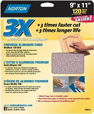 Norton 02619 3X Handy Aluminum-Oxide Sandpaper 120 Grit, 9-Inch x 11-Inch, 5-Pack, 15 Sheets Total