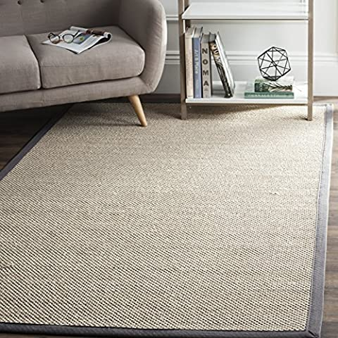 Safavieh Natural Fiber Collection NF143D Marble and Dark Grey Sisal Area Rug (4' x 6') (Area Rugs Natural Fiber)