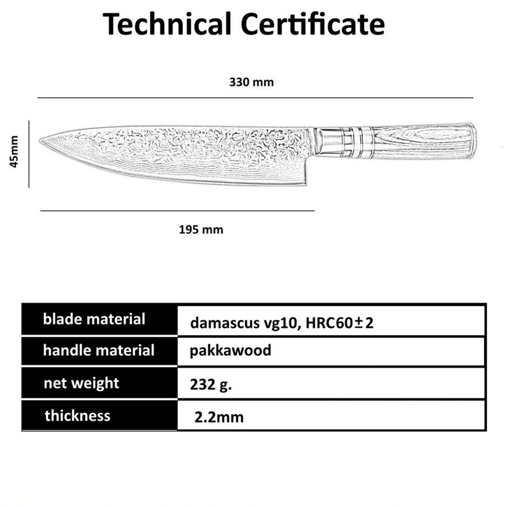 [8 Inch]Chef Knife,FANTECK Kitchen Knife VG10 Damascus Professional Sharp High Carbon Stainless Steel 67-Layer Meat Sushi Fruit Cutting Gyuto Chef Knife[Gift Box]-Ergonomic G10 Wood Handle-Acrylic Rim by F FANTECK (Image #7)