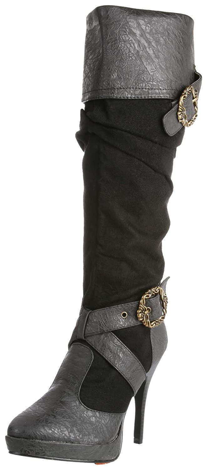 Women's Caribbean Distressed Black Knee-High Boot - DeluxeAdultCostumes.com