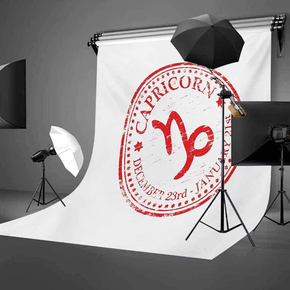 Zodiac Capricorn 8x10 FT Photo Backdrops,Monochrome Horoscope Symbol with Grunge Stars and Circle Frame Background for Baby Birthday Party Wedding Vinyl Studio Props Photography Vermilion and White
