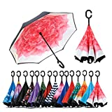 Spar. Saa Double Layer Inverted Umbrella with C-Shaped Handle, Anti-UV Waterproof Windproof Straight Umbrella for Car Rain Outdoor Use (Red Lotus)